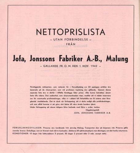JOFA_Huvudkatalog 1942 prislista 0635