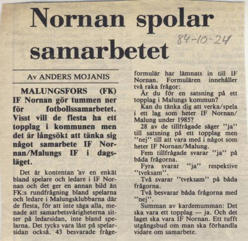 1984 IF Nornanbilder Samarbete med Malungs IF