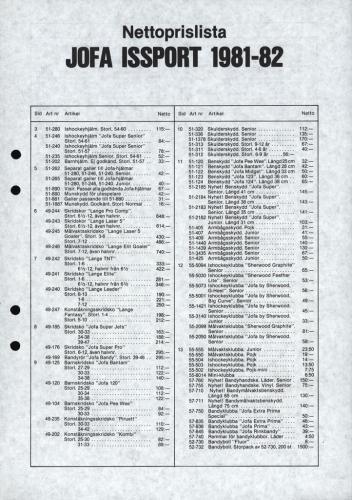 Jofa Issport 1981-82 nettoprislista 01