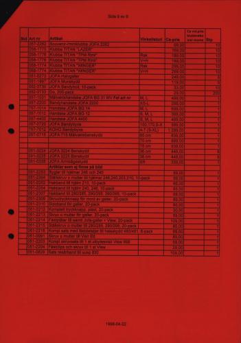 Jofa Rosa pantern prislista produktkatalog 1998-99 Blad09