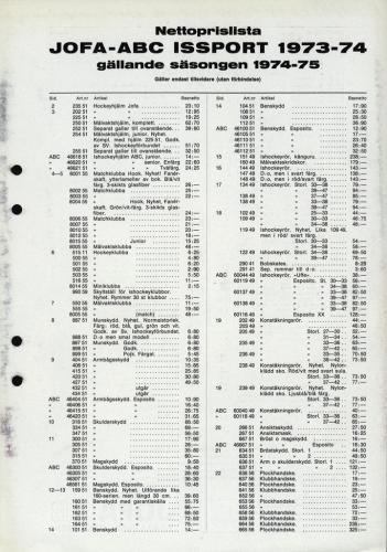 jofa sportkatalog 1973-74 Issport nettoprislista 01