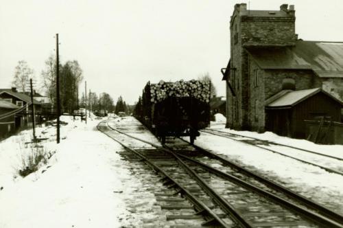 1971-72 nyår Sista tåget från Särna Vid lokstallet