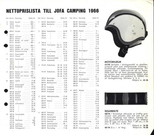 JOFA Oskar Camping Jofa campingbok 1966 prislista 0427