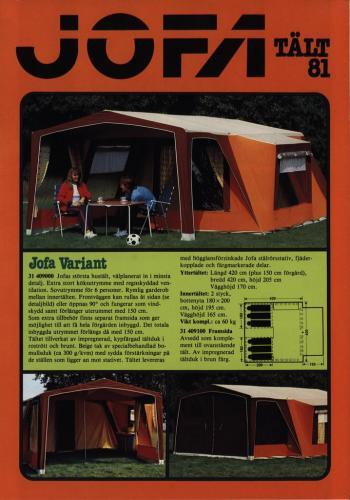 JOFA Volvo Camping & Tält Jofa tält-81 0057
