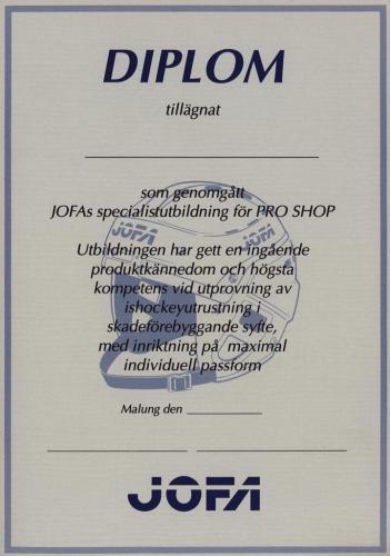 JOFA Volvo Hockey Jofa diplom pro-shop 0211