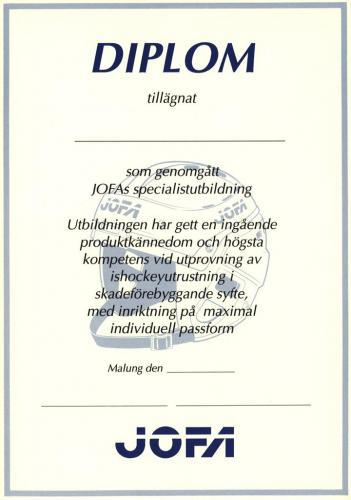 JOFA Volvo Hockey Diplom jofa specialistutbildning 0212