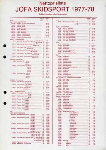 JOFA Volvo Längdåkning Jofa nettoprislista skidsport 1977-78 0130