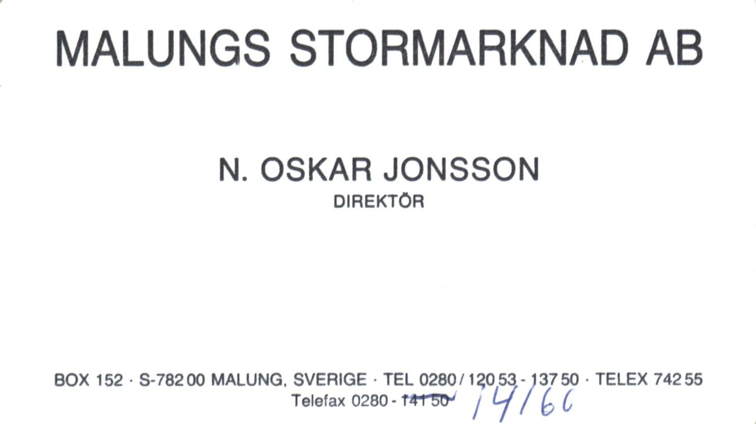 Niss Oskar visitkort malungs stormarknad