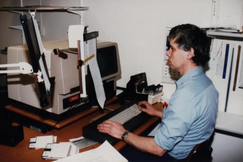 Anders Halvarsson fotosättning, en av dom första digitala maskinerna, istället för en gammal blysättningsmaskin