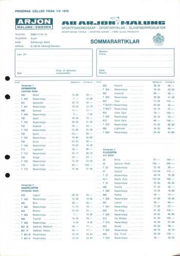 Arjon Prislista sommarartiklar 1970 Blad01