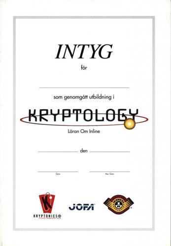 Intyg utbildning kryptology Jofa, kryptonics Koho