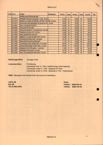 JOFA Prislistor 33