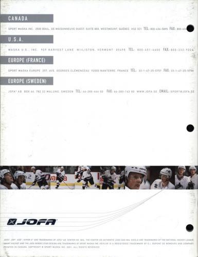 JOFA smart hockey 2001 equipment guide 19
