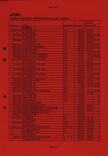 Jofa Rosa pantern prislista produktkatalog 1998-99 Blad01