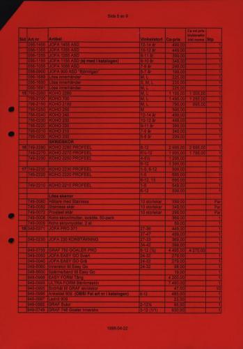Jofa Rosa pantern prislista produktkatalog 1998-99 Blad05
