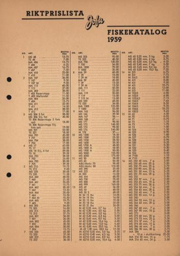 Jofa prislista fiske 1959 Sid01