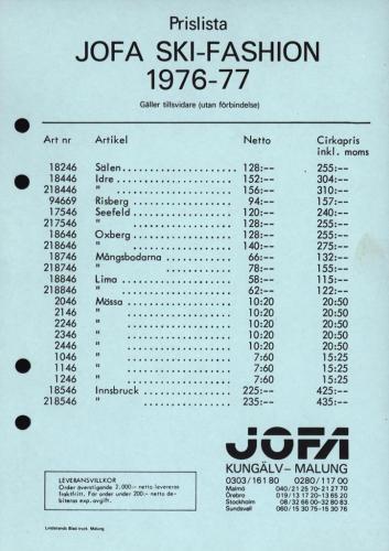 Jofa ski-fashion prislista 76-77