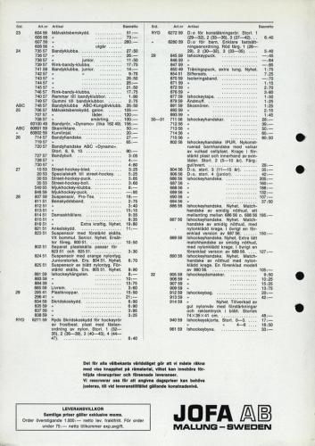 jofa sportkatalog 1973-74 Issport nettoprislista 02