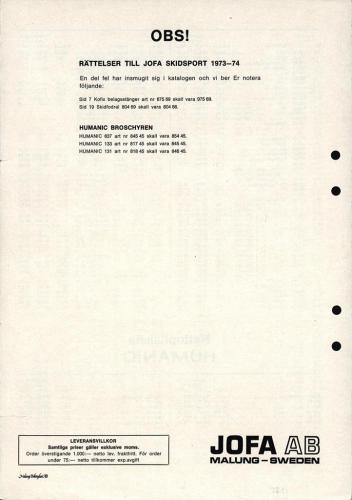 jofa sportkatalog 1973-74 Skidsport nettoprislista 03