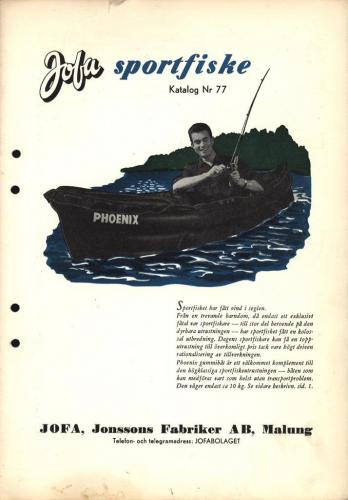 JOFA Oskar Fiske 1955 Jofa sportfiskekatalog 0464