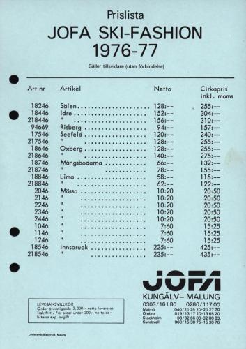 JOFA Volvo Längdåkning Jofa ski-fashion prislista 76-77 0119